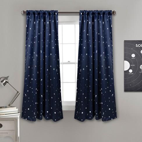 Star Blackout Window Curtain Panels Navy Lush Decor