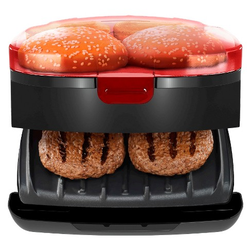 George Foreman 5-Minute Burger Grill, Electric Indoor Grill - Red GR1036BTR - image 1 of 3