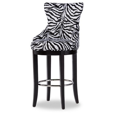 Peace Modern and Contemporary Zebra Print Patterned Fabric Upholstered Barstool with Metal Footrest Beige - Baxton Studio