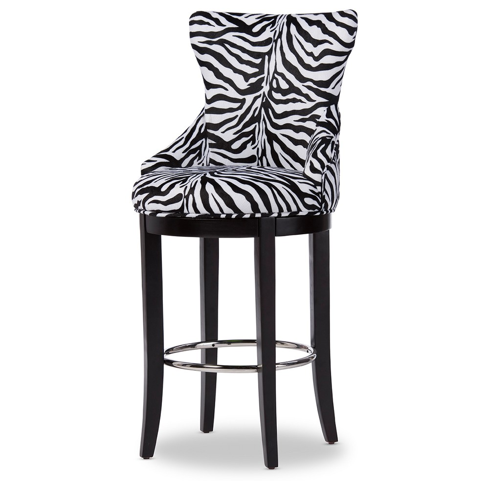 Peace Modern and Contemporary Zebra - Print Patterned Fabric Upholstered Bar Stool with Metal Footrest - Beige, Zebra Print - Baxton Studio, Black