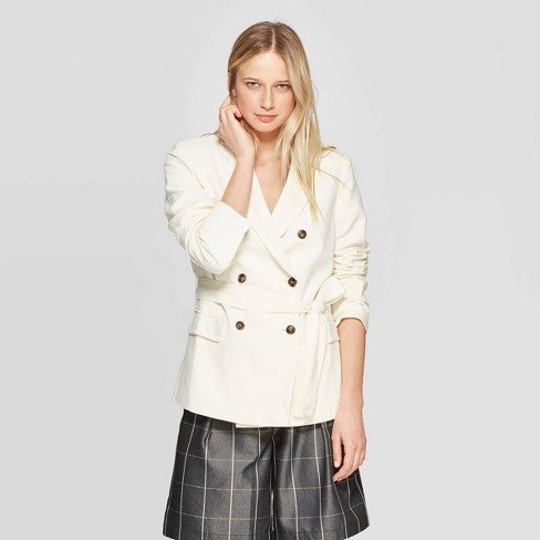Women's Double Breasted Belted Blazer - Who What Wear™ White - image 1 of 3