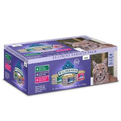 Blue Buffalo Wilderness Grain Free Paté Duck, Chicken & Salmon Recipe Premium Wet Cat Food - 3oz/12ct  Variety Pack