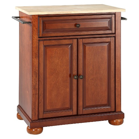 Alexandria Natural Wood Top Portable Kitchen Island - Crosley