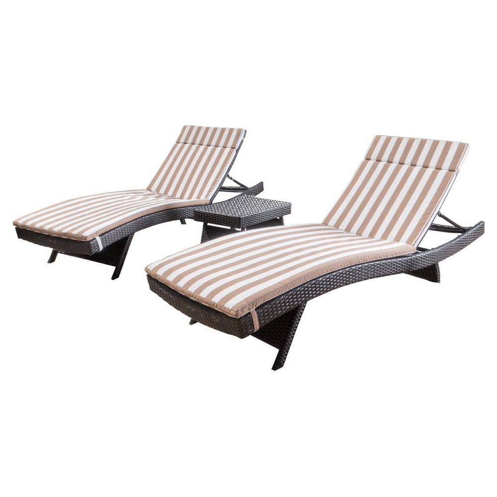 Salem 3pc Brown Wicker Lounge and Coffee Table - Brown and White Stripe - Christopher Knight Home