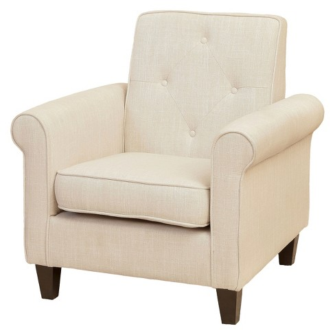Isaac Tufted Fabric Club Chair Beige Christopher Knight Home