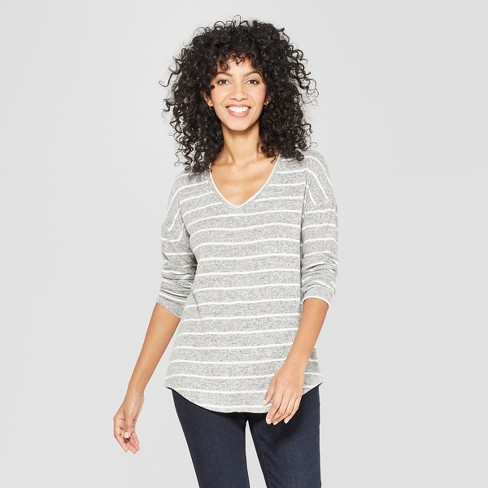 Women's Striped Long Sleeve Cozy Knit Top - A New Day™ White/Black - image 1 of 3