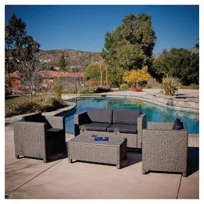 Puerta 4pc Wicker Patio Sofa Set - Gray with Black Cushions - Christopher Knight Home