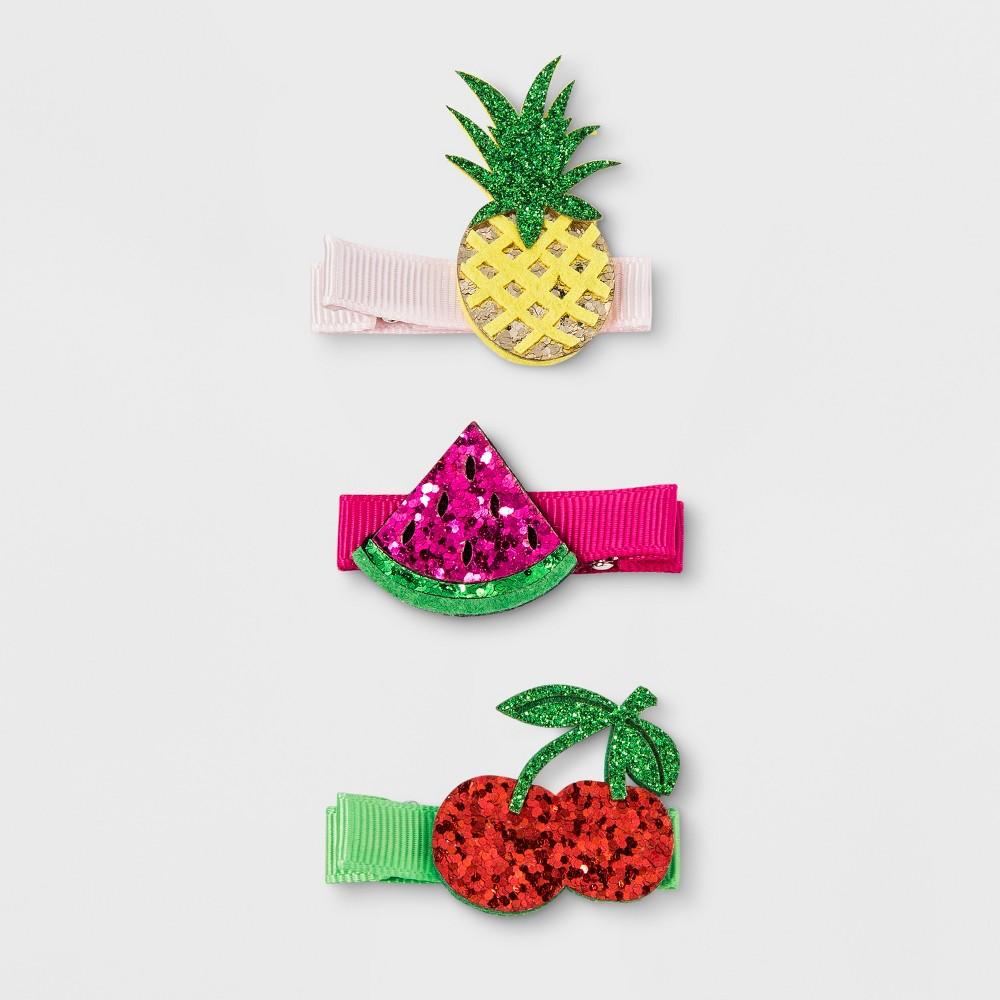 Toddler Girls' 3pk Fruit Salon Hair Clips - Cat & Jack Yellow/Pink/Red