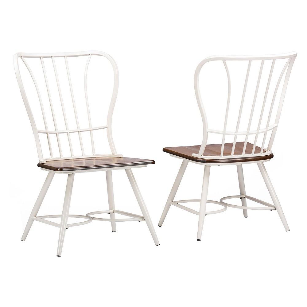 Set Of 2 Longford Metal Vintage Industrial Dining Chair White Baxton Studio