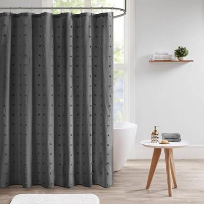 Kay Cotton Pom-Pom Shower Curtain Dark Gray