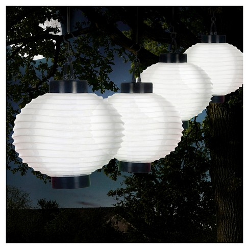 Pure Garden Outdoor Solar Chinese Lanterns Set of 4 - White - image 1 of 5