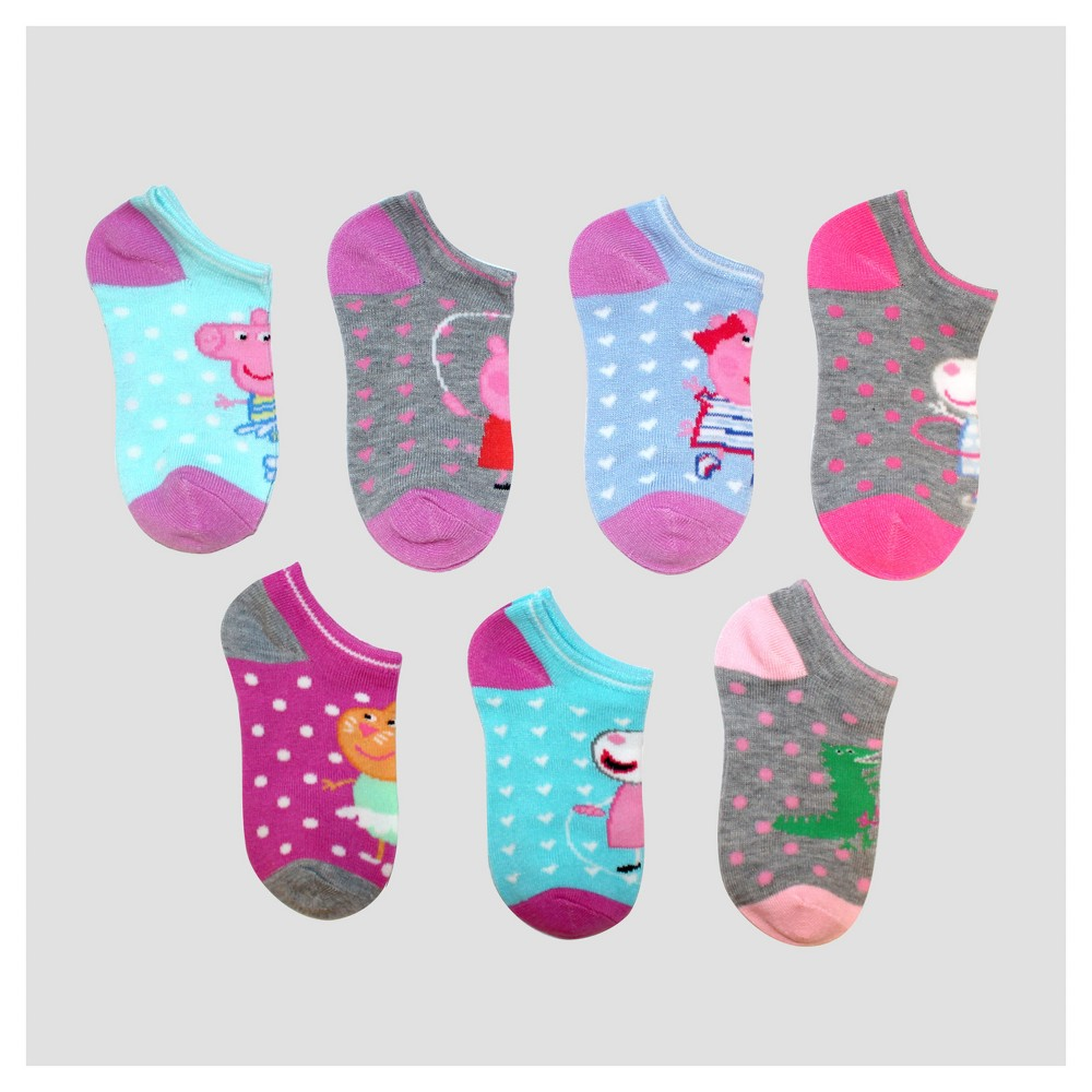 Image of Girls' Peppa Pig 7pk Free Casual Socks - S/M, Girl's, Size: Small, Blue