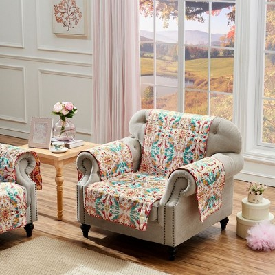 """Greenland Home Fashionss Joannas Garden Reversible Quilted Waterproof Furniture Cover Arm Chair (84""""x81"""") in Multicolor"""