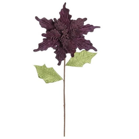 """Northlight 24"""" Purple and Green Glittered Artificial Poinsettia Christmas Spray - image 1 of 2"""