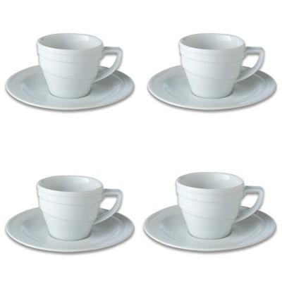 BergHOFF Essentials 3.5Oz Porcelain Espresso Cup & Saucers, Set of 4