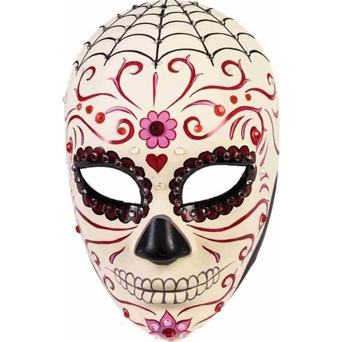 Adults Day of the Dead Skull Transparent Spider Web Mask Costume Accessories