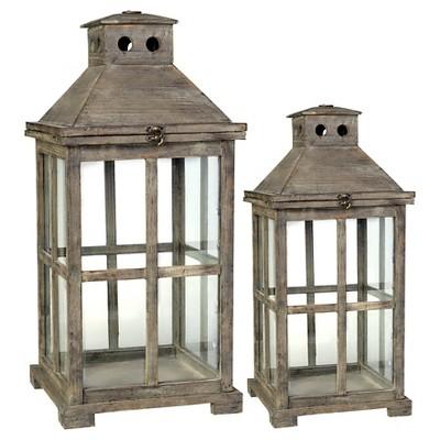 2pc Wood And Glass Lantern Set Brown - A&B Home