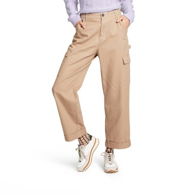 Women's Mid-Rise Straight Leg Pocket Pants - Sandy Liang x Target Khaki