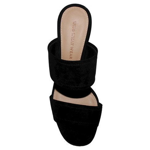 1327142c3b1 Women s Carolina Double Band Block Heel Slide Sandals - Who What Wear™ Black  9. Shop all Who What Wear