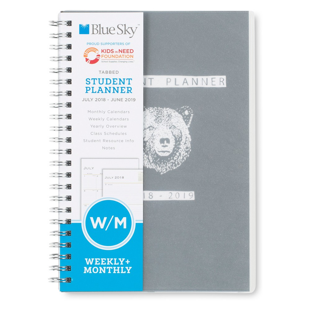 2018-19 Academic Student Planner 5 x 8 Grey Bear - Blue Sky, Multi-Colored