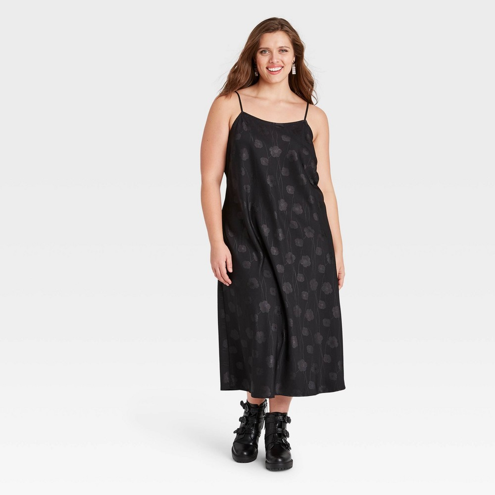 1920s Plus Size Flapper Dresses, Gatsby Dresses, Flapper Costumes Womens Plus Size Jacquard Slip Dress - A New Day Black 2X $24.99 AT vintagedancer.com