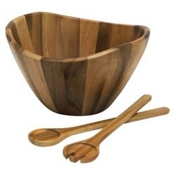 Lipper International Large Acacia Wave Bowl with Salad Servers