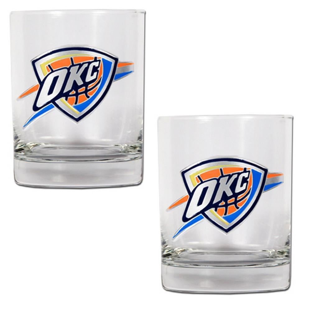 NBA Oklahoma City Thunder 2pk Metal Emblem Rocks Glass Set