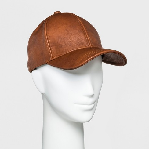 Women's Faux Leather Baseball Hat - Universal Thread™ Cognac - image 1 of 2