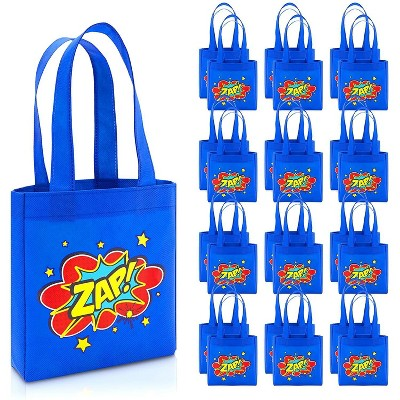 Blue Panda 24-Pack Comic Hero Birthday Party Favor Small Gift Bags, Totes Bags (Blue, 8.5 x 6.8 x 2 In)