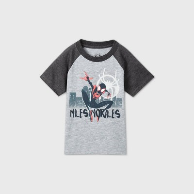 Toddler Boys' Spider-Man 'Miles Morales' Short Sleeve Raglan T-Shirt - Gray