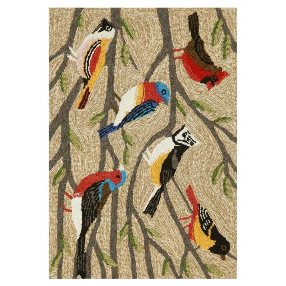 "Image of ""Frontporch Indoor/Outdoor Birds Rug 30""""X48"""" Natural - Liora Manne"""