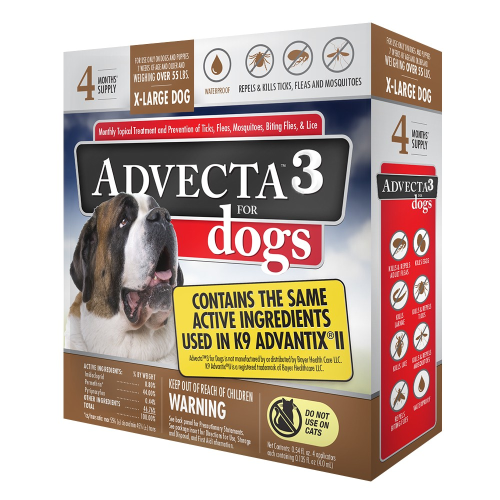Image of Advecta Flea Drops Pet Insect Treatment for Dogs - Over 55lbs - 4ct