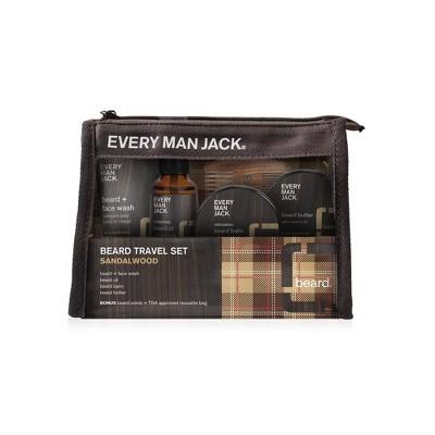 Every Man Jack Amplified Gifting Beard Travel Set - Sandalwood - Trial Size - 5ct