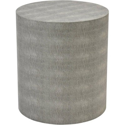 """55 Downing Street Dexter 16"""" Wide Gray Faux Shagreen Round Accent Table"""