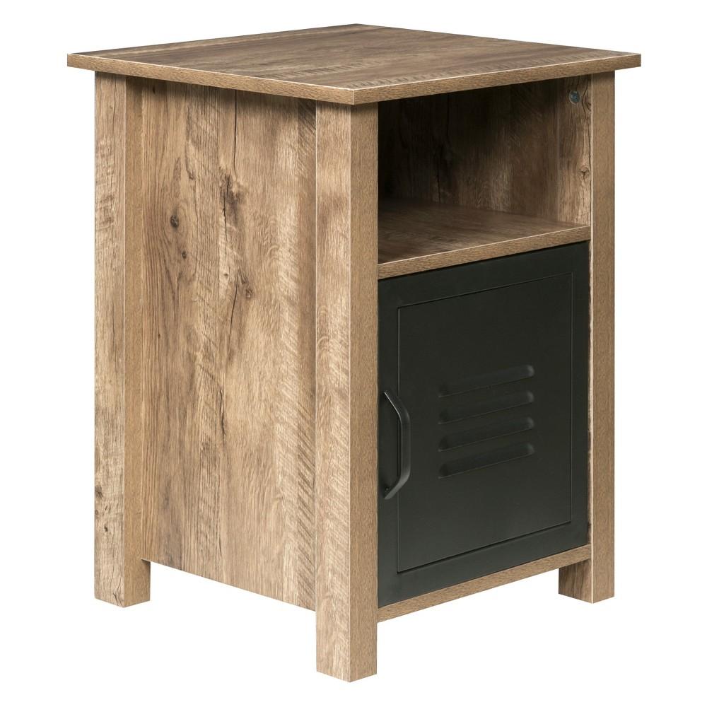 Norwood Range End Table Wood And Black Metal Oak - OneSpace