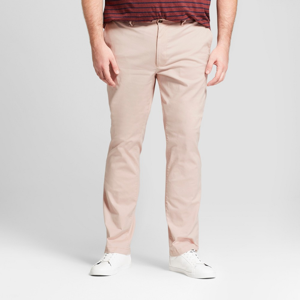 Men's Tall Slim Fit Hennepin Chino Pants - Goodfellow & Co Dusty Pink 30x36, Orange