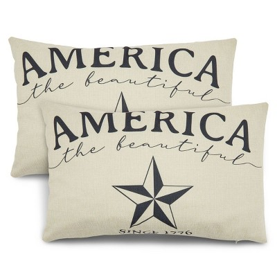 Juvale 2 Pack Lumbar Throw Pillow Covers Case, America The Beautiful Patriotic Home Decor, 20 x 12 in