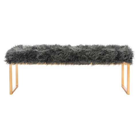 Etta Faux Curly Lamb Bench - Safavieh® - image 1 of 4