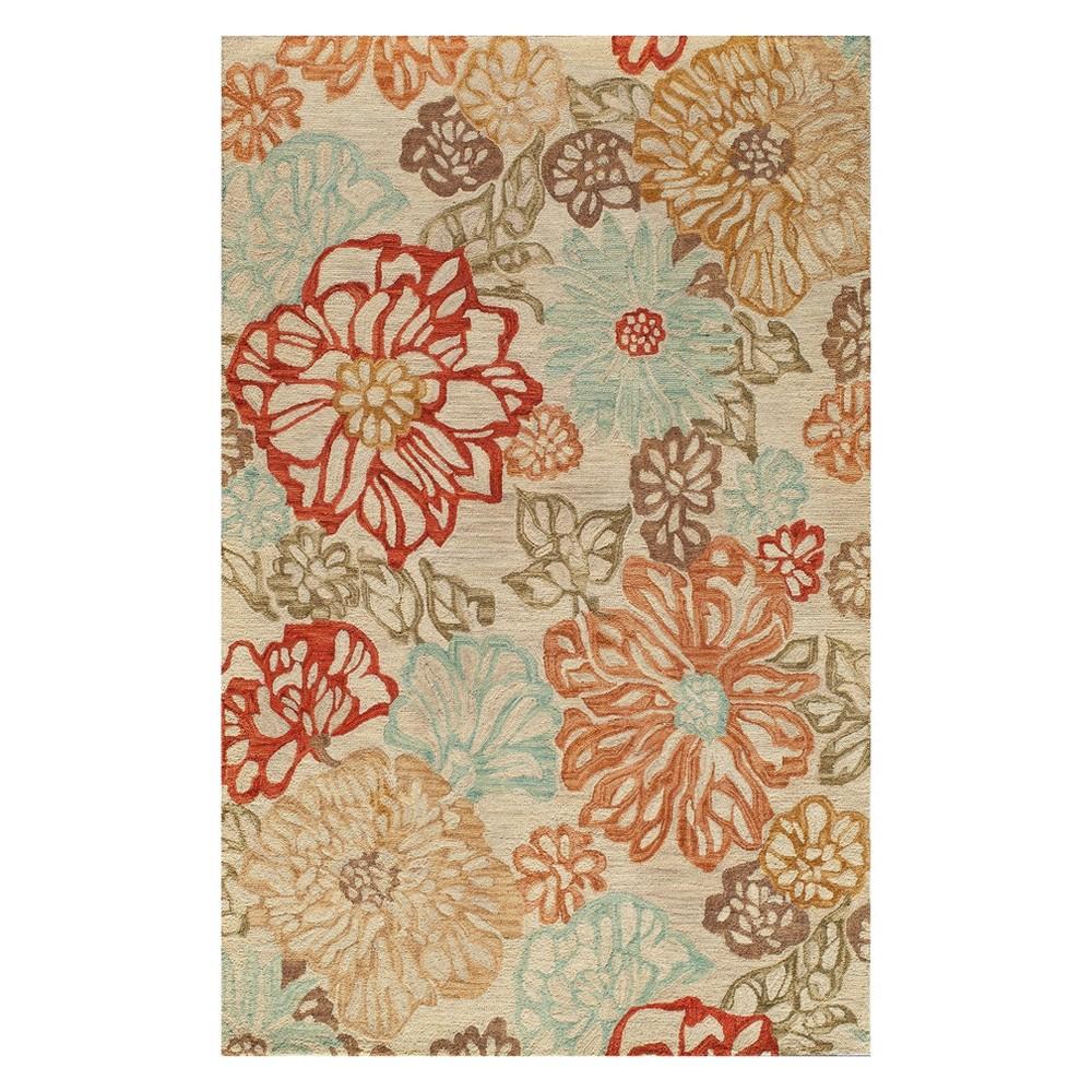 5'X8' Floral Tufted Area Rug Beige - Momeni