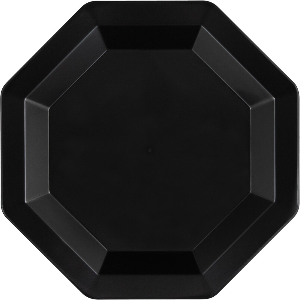 12ct Black Dessert Plates Octagonal