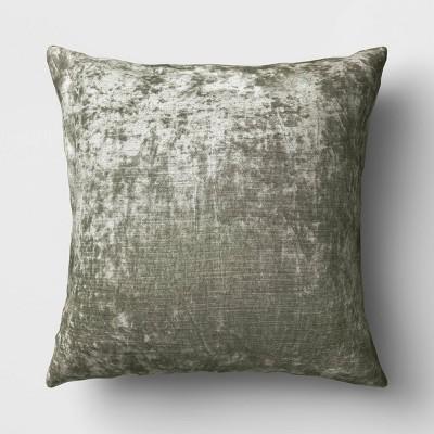 Oversized Square Velvet Throw Pillow Sage - Threshold™