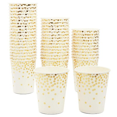 Blue Panda 50 Pack 9oz Gold Foil Confetti Party Disposable Paper Cups, Birthday Wedding Party Supplies