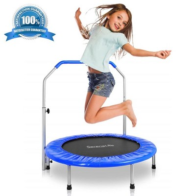 SereneLife 36 Inch Portable Folding Highly Elastic Fitness Jumping Fun Sports Trampoline with Handrail, Padded Cushion, and Travel Bag, Kids Size