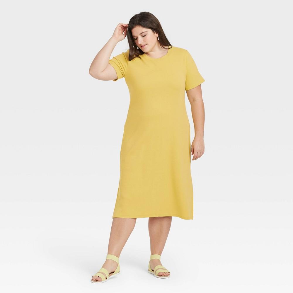 Women 39 S Plus Size Short Sleeve Rib Knit T Shirt Dress A New Day 8482 Light Green 3x