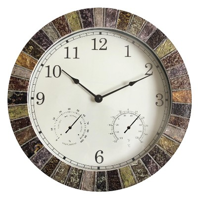 """13.8""""H Weather Monitoring Indoor/Outdoor Decorative Stone Clock - Backyard Expressions"""
