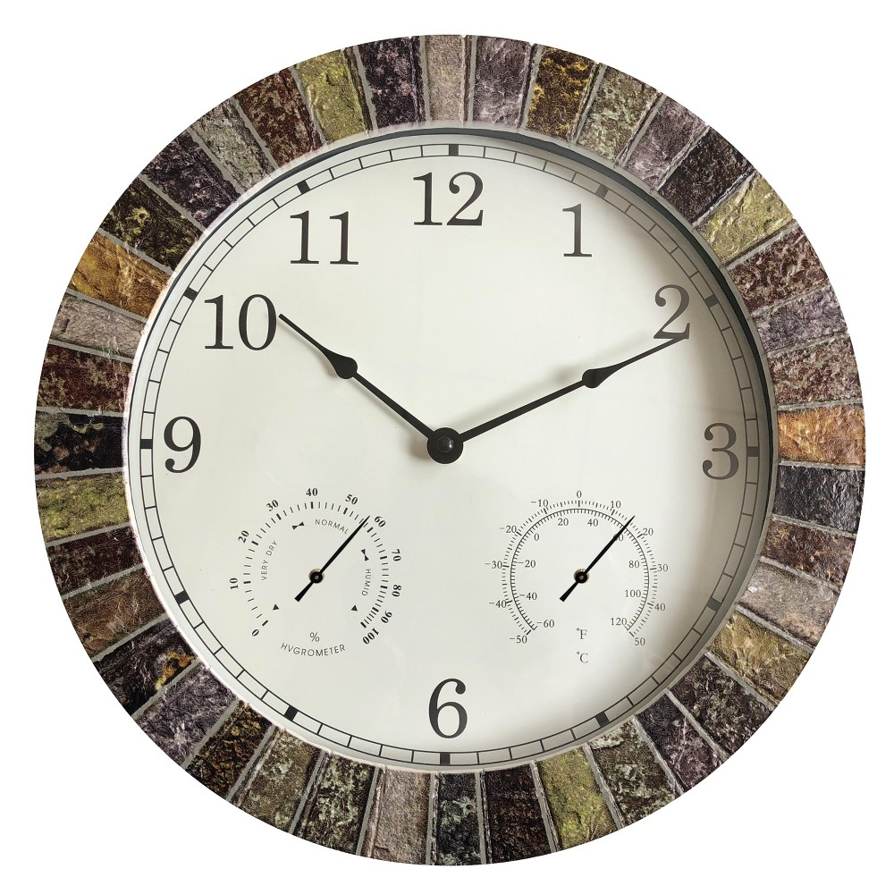 Image of 13.8H Weather Monitoring Indoor/Outdoor Decorative Stone Clock - Backyard Expressions, Multi-Colored