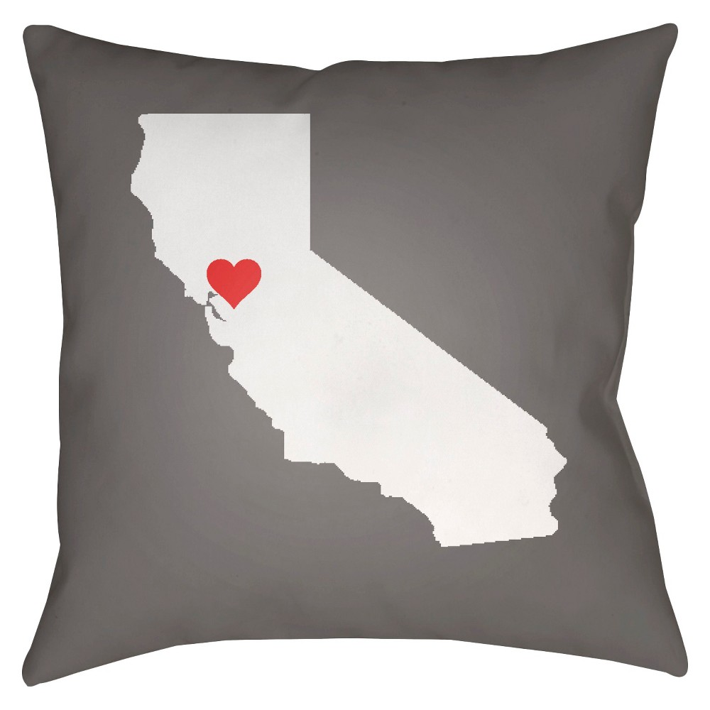Gray State of the Heart California Throw Pillow 20