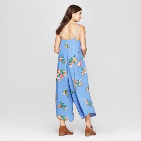 6a7d8e1b6b55 Women s Floral Print Strappy Square Neck Waist Tie Cropped Jumpsuit -  Xhilaration™ Light Blue   Target