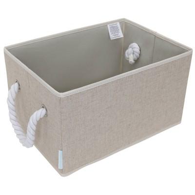 StorageWorks Set of 2 20L Fabric Storage Bins with Cotton Rope Handles Beige