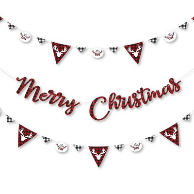 Big Dot of Happiness Prancing Plaid - Reindeer Holiday and Christmas Party Letter Banner Decor - 36 Banner Cutouts and Merry Christmas Banner Letters